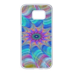 Fractal Curve Decor Twist Twirl Samsung Galaxy S7 Edge White Seamless Case