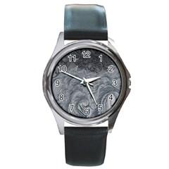 Abstract Art Decoration Design Round Metal Watch