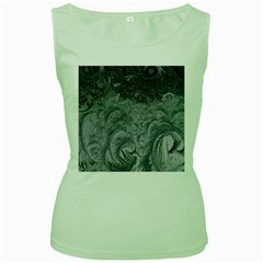 Abstract Art Decoration Design Women s Green Tank Top