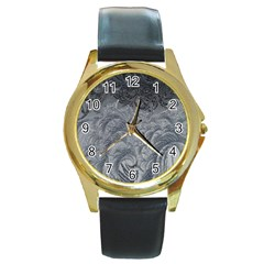 Abstract Art Decoration Design Round Gold Metal Watch