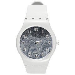 Abstract Art Decoration Design Round Plastic Sport Watch (m)
