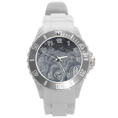 Abstract Art Decoration Design Round Plastic Sport Watch (l)