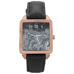 Abstract Art Decoration Design Rose Gold Leather Watch
