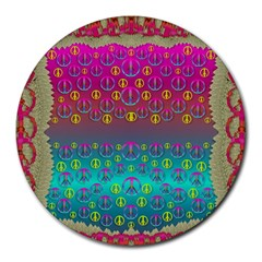 Years Of Peace Living In A Paradise Of Calm And Colors Round Mousepads