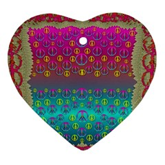 Years Of Peace Living In A Paradise Of Calm And Colors Ornament (heart)