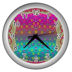 Years Of Peace Living In A Paradise Of Calm And Colors Wall Clocks (silver)
