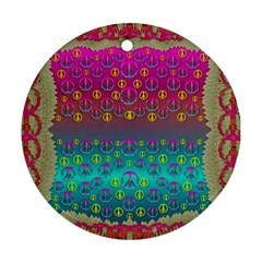Years Of Peace Living In A Paradise Of Calm And Colors Round Ornament (two Sides)