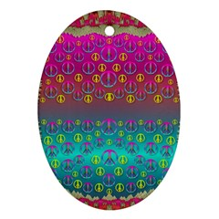 Years Of Peace Living In A Paradise Of Calm And Colors Oval Ornament (two Sides)