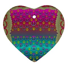Years Of Peace Living In A Paradise Of Calm And Colors Heart Ornament (two Sides)