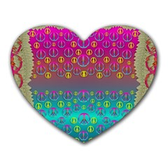 Years Of Peace Living In A Paradise Of Calm And Colors Heart Mousepads