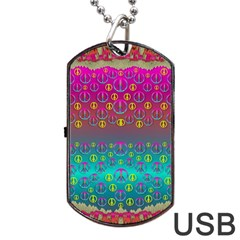 Years Of Peace Living In A Paradise Of Calm And Colors Dog Tag Usb Flash (one Side)