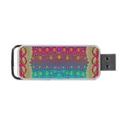 Years Of Peace Living In A Paradise Of Calm And Colors Portable Usb Flash (one Side)