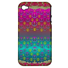 Years Of Peace Living In A Paradise Of Calm And Colors Apple Iphone 4/4s Hardshell Case (pc+silicone)