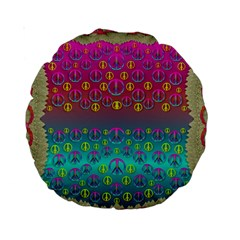 Years Of Peace Living In A Paradise Of Calm And Colors Standard 15  Premium Round Cushions