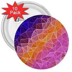 Crystalized Rainbow 3  Buttons (10 Pack)