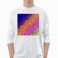 Crystalized Rainbow White Long Sleeve T Shirts