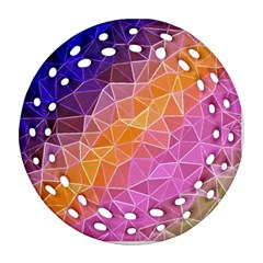 Crystalized Rainbow Round Filigree Ornament (two Sides)