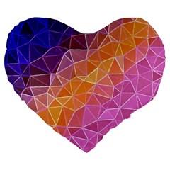 Crystalized Rainbow Large 19  Premium Heart Shape Cushions