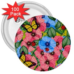 Floral Scene 3  Buttons (100 Pack)