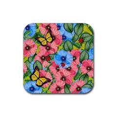 Floral Scene Rubber Coaster (square)