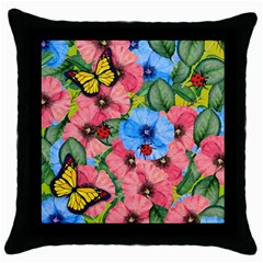 Floral Scene Throw Pillow Case (black)