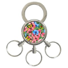 Floral Scene 3 Ring Key Chains