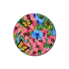 Floral Scene Rubber Round Coaster (4 Pack)