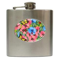 Floral Scene Hip Flask (6 Oz)