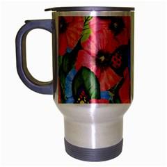 Floral Scene Travel Mug (silver Gray)