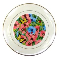 Floral Scene Porcelain Plates