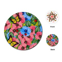 Floral Scene Playing Cards (round)