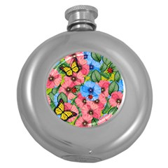 Floral Scene Round Hip Flask (5 Oz)
