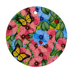 Floral Scene Round Ornament (two Sides)