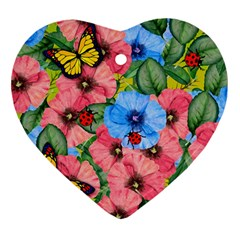 Floral Scene Heart Ornament (two Sides)