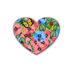 Floral Scene Heart Coaster (4 Pack)