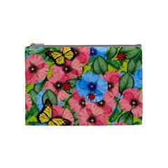 Floral Scene Cosmetic Bag (medium)