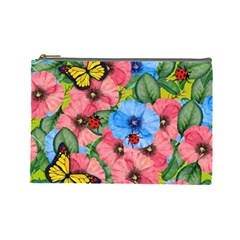 Floral Scene Cosmetic Bag (large)