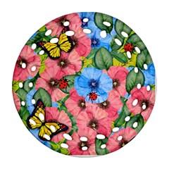 Floral Scene Ornament (round Filigree)