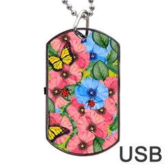 Floral Scene Dog Tag Usb Flash (two Sides)