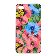 Floral Scene Apple Iphone 4/4s Seamless Case (black)