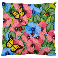Floral Scene Large Cushion Case (two Sides)