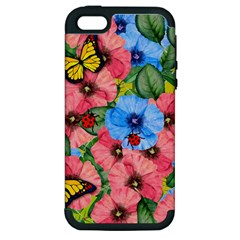 Floral Scene Apple Iphone 5 Hardshell Case (pc+silicone)