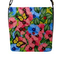 Floral Scene Flap Messenger Bag (l)