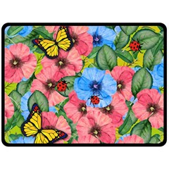 Floral Scene Double Sided Fleece Blanket (large)