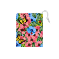 Floral Scene Drawstring Pouches (small)