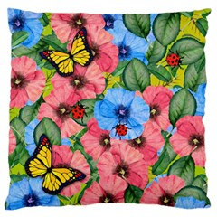 Floral Scene Large Flano Cushion Case (one Side)