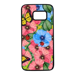 Floral Scene Samsung Galaxy S7 Black Seamless Case