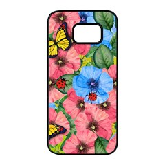 Floral Scene Samsung Galaxy S7 Edge Black Seamless Case