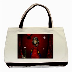 Funny, Cute Parrot With Butterflies Basic Tote Bag