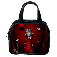Funny, Cute Parrot With Butterflies Classic Handbags (one Side)